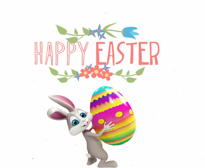 Happy Easter with Bunny Clipart
