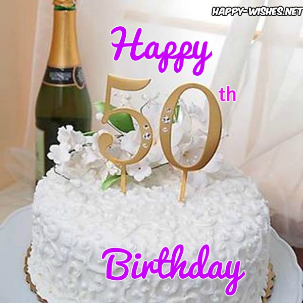 Happy 50th Birthday Wishes Image With Wine And Cake