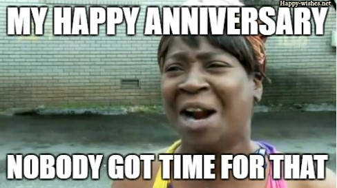 Weeping woman in Happy Anniversary meme