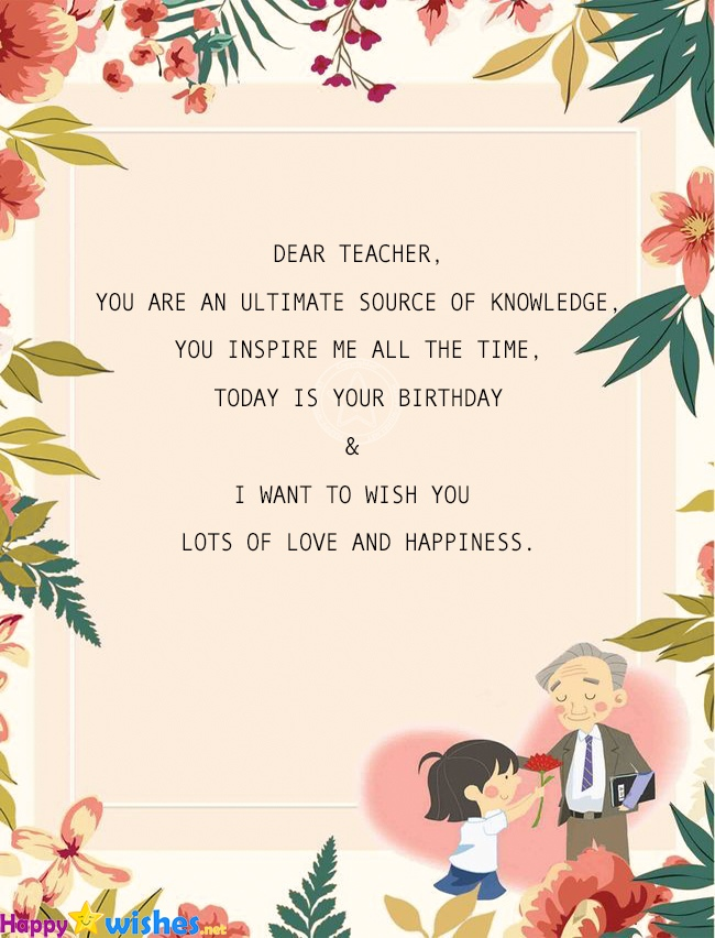 happy birthday wishes for teacher  quotes  images
