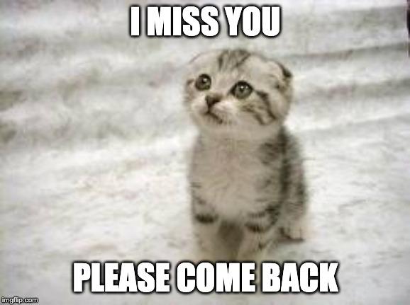 I miss you please comeback