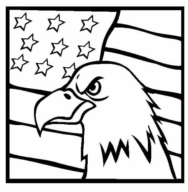 Patriot Day Coloring Images flag and eagle