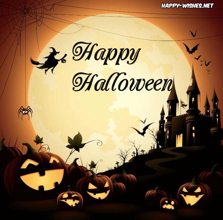 Halloween images of witch on the Moon