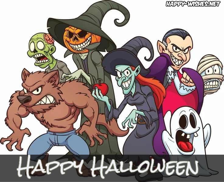 Cartoon wishing you Happy Halloween