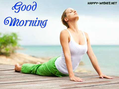 Girl doing yoga Good Morning Images