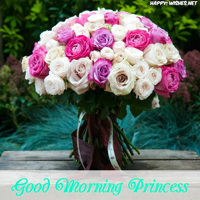Good Morning Princess Wishes With Flower Bouqet Images