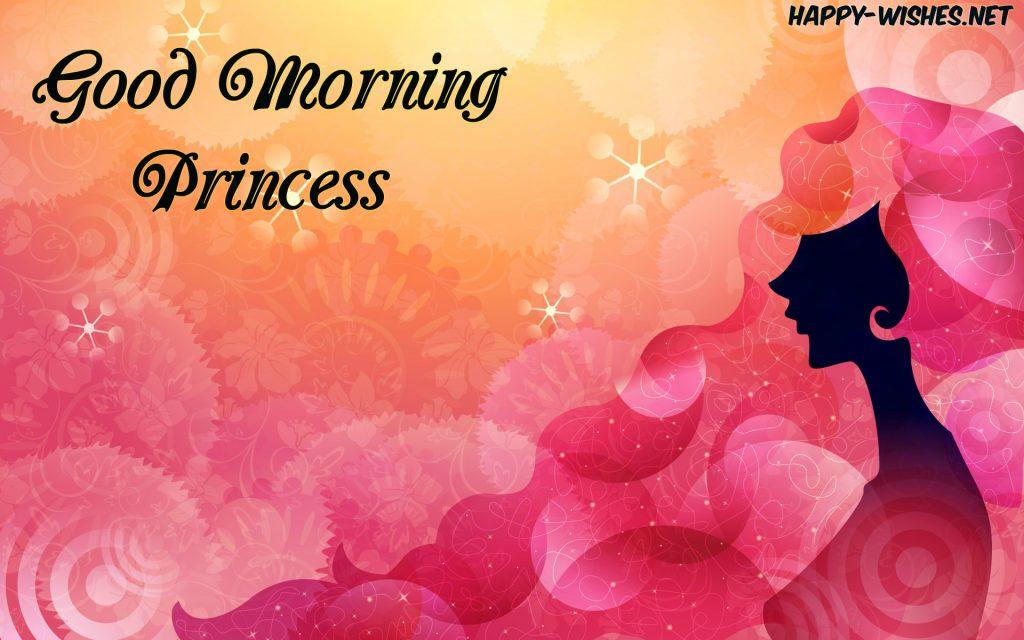Good Morning Princess wishes with Beautiful Girlish Background images