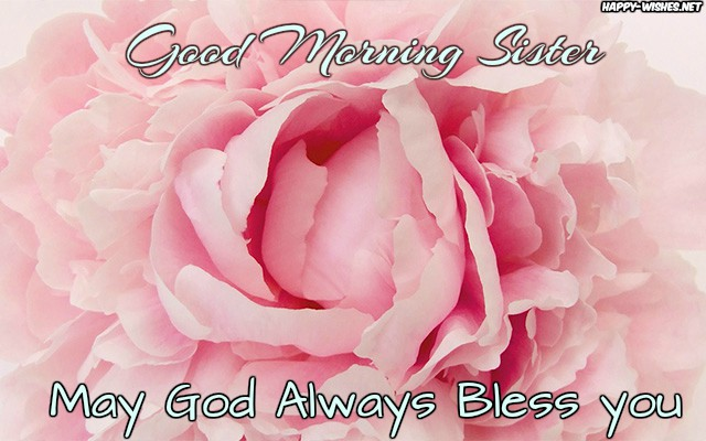 Good Morning Sister Wishes With Beautiful Pink Flower in the background