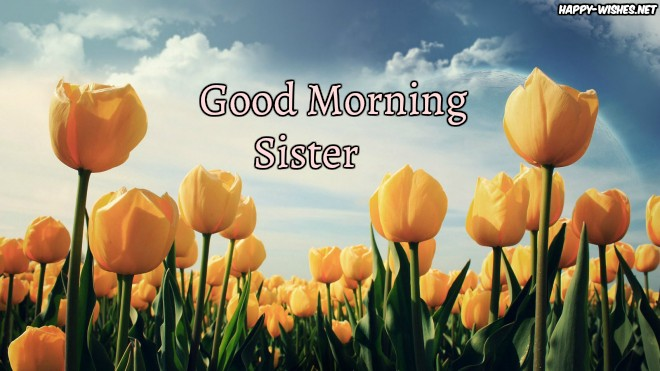 Good Morning Sister with Yellow flower images