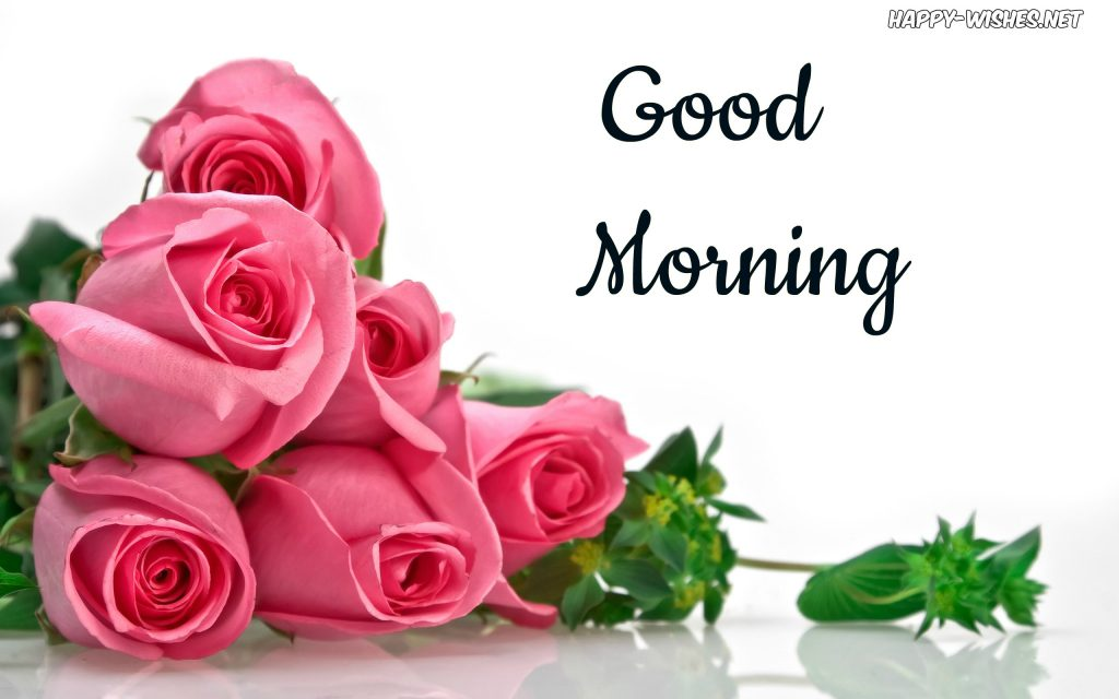 Good Morning Wishes With Pink Rose Bunch Pictures