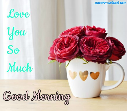 Good Morning Wishes With Red Rose In Coffee cup Pictures