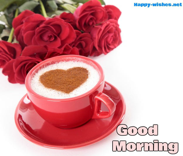 Good Morning Wishes With Rose Pictures with Red Cup images