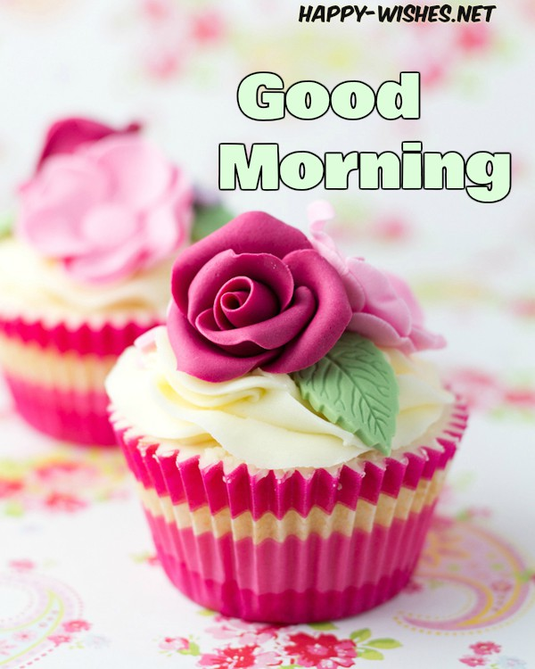 Good Morning Wishes With Rose Shaped icecream Pictures