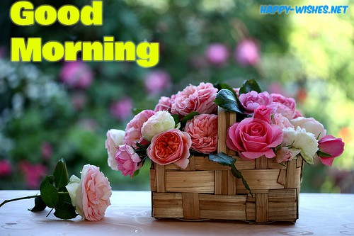 Good Morning Wishes With Rose in Wooden Bouquet Pictures