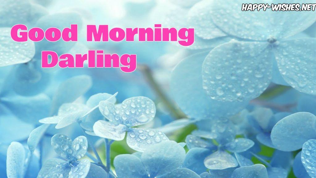 Good morning darling with violet flower background images