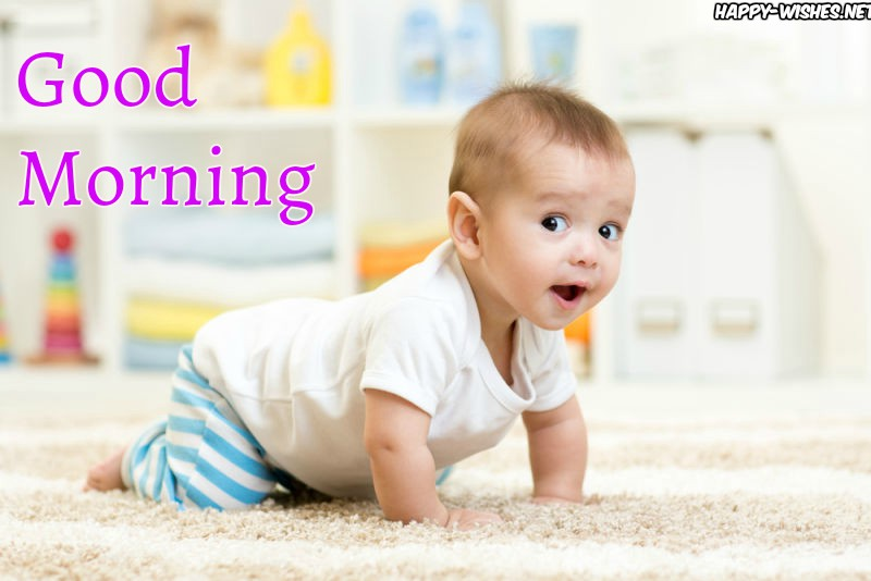 Small Baby Playing on ground Good morning images