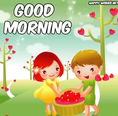 Cute Cartoon Girl Good Morning Images