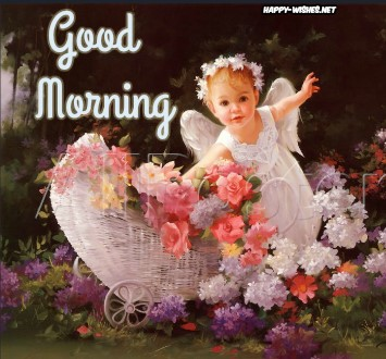 Cute Good Morning wishes with Angel images
