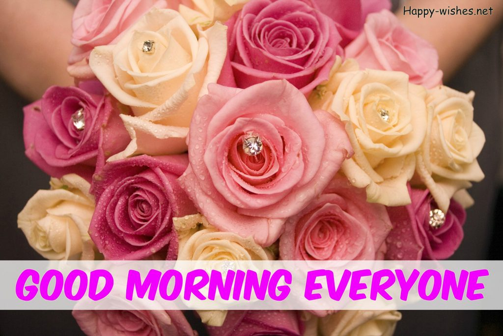 Good Morning Everyone Wishes With Rose Background images