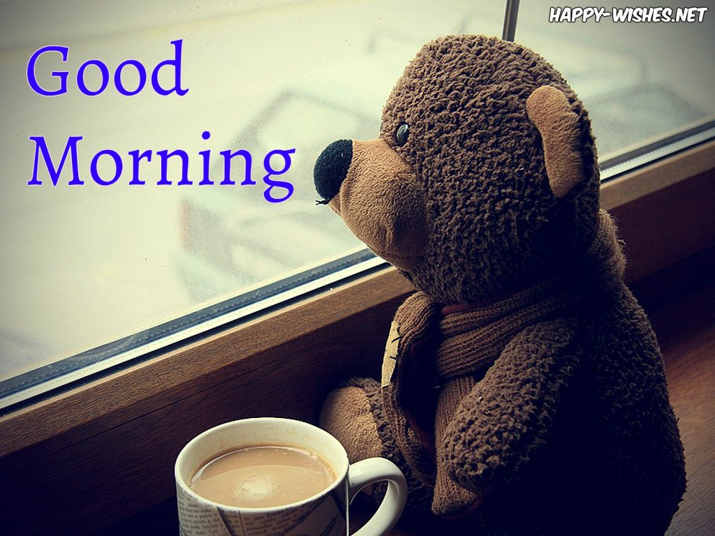 Good Morning Teddy Image with Coffeecup
