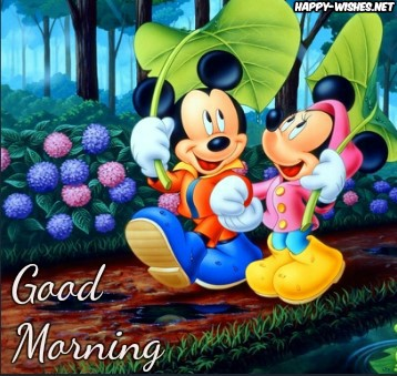 Good Morning Wishes With Cartoon Images with Micky Mouse Images