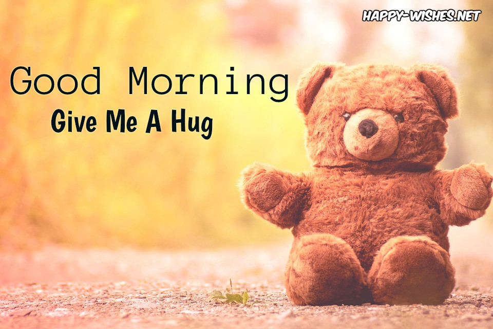 Good Morning Wishes With Teddy Giving Hug Image