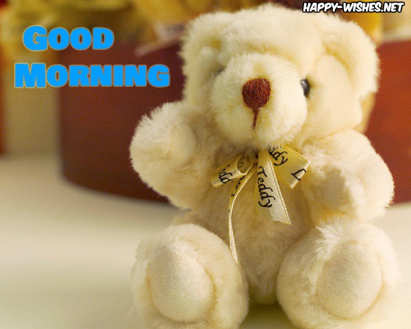 Good Morning Wishes With White Teddy Images
