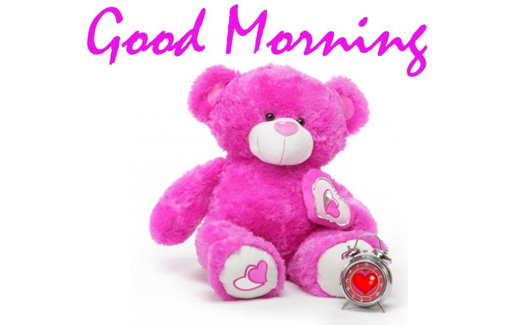 Good Morning Wishes with Pink Teddy