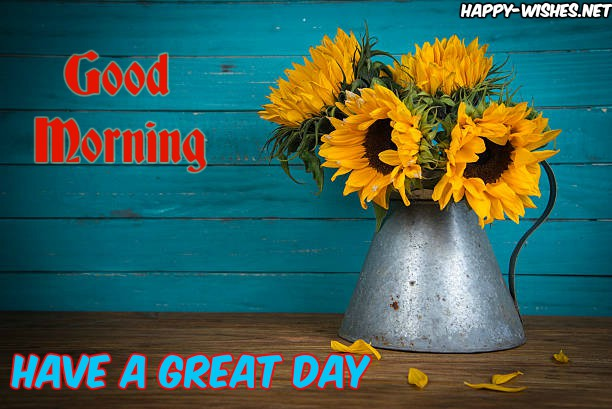 Good Morning Wishes with Sunflower Vass images