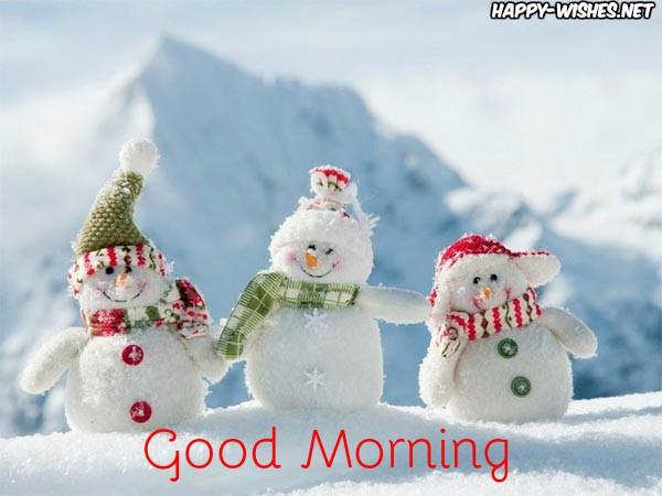 Good Morning winter snow man images