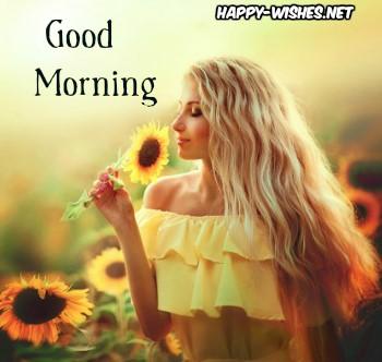 Good Morning wishes Girld Holding Sunflower in Hand