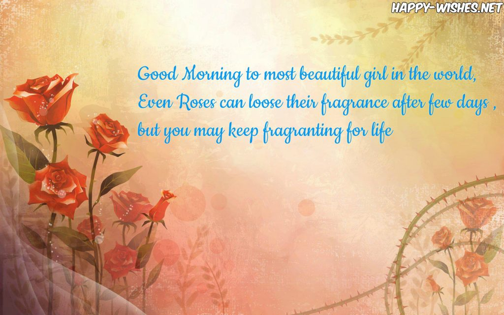 Good Morning wishes to the most beautiful girl in the world flower art background images