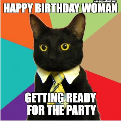 Happy birthday woman with cat images