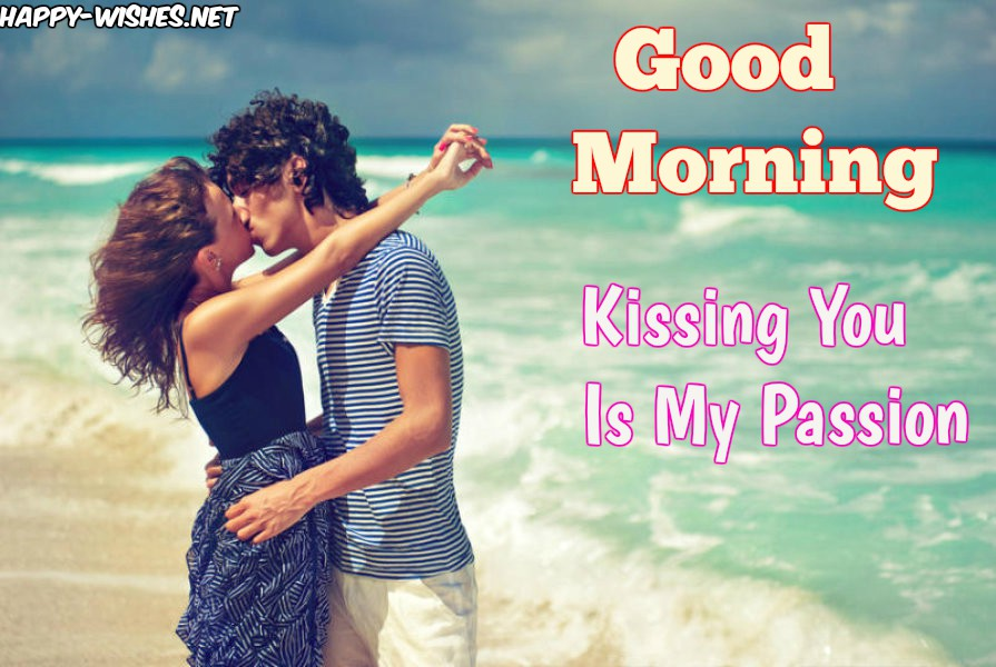 Kissing on the beach GoodMorning Images