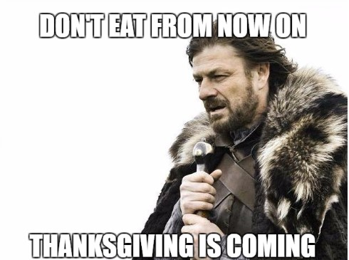 Thanksgiving meme on hungry people