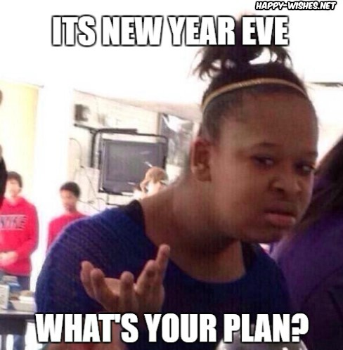 Confused Black girl in new year memes