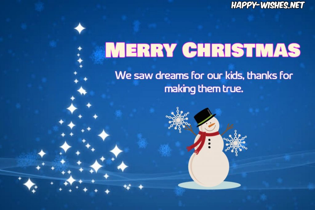 Merry Christmas wishes for teachers from Parents