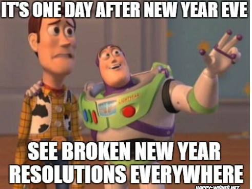 New year memes on Broken Resolutions
