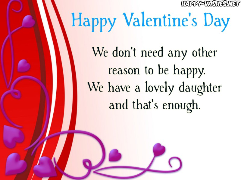 Wishes for daughter on Valentine's Day