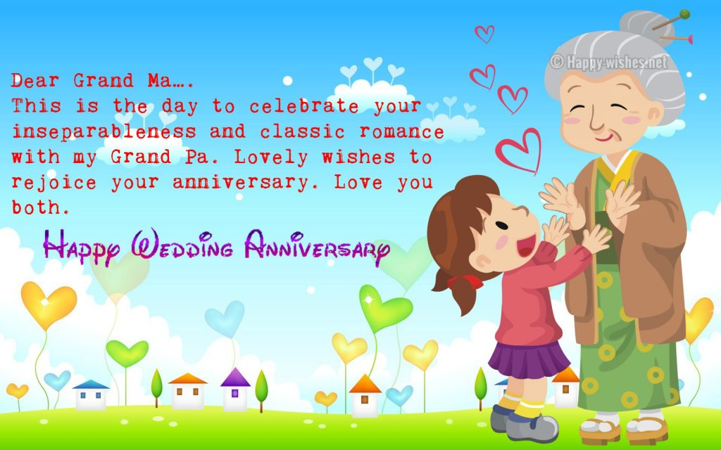 Happy Wedding Anniversary for grandparent from granddaughter