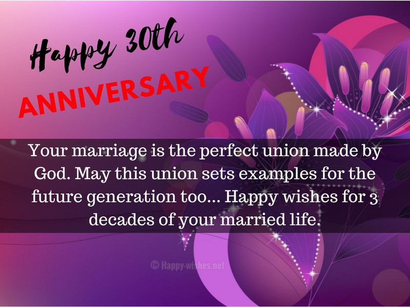 Happy wishes for 3 decades of your married life
