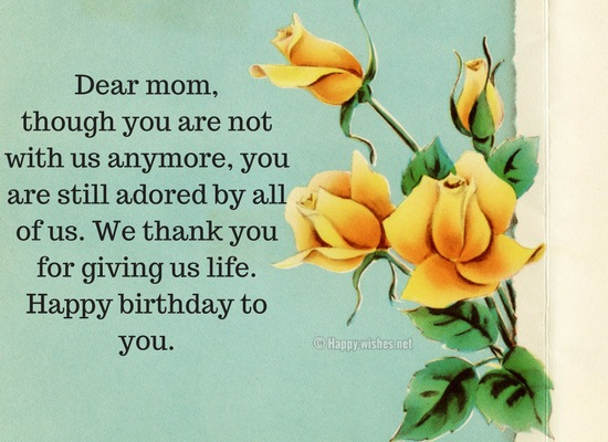 Dear mom, Happy birthday to you
