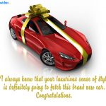 Congratulations wishes for friend on buying new car