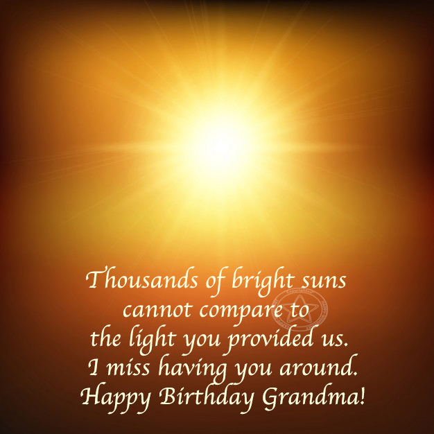 thousand of bright suns can't be compared with light you provide happy birthday grandma