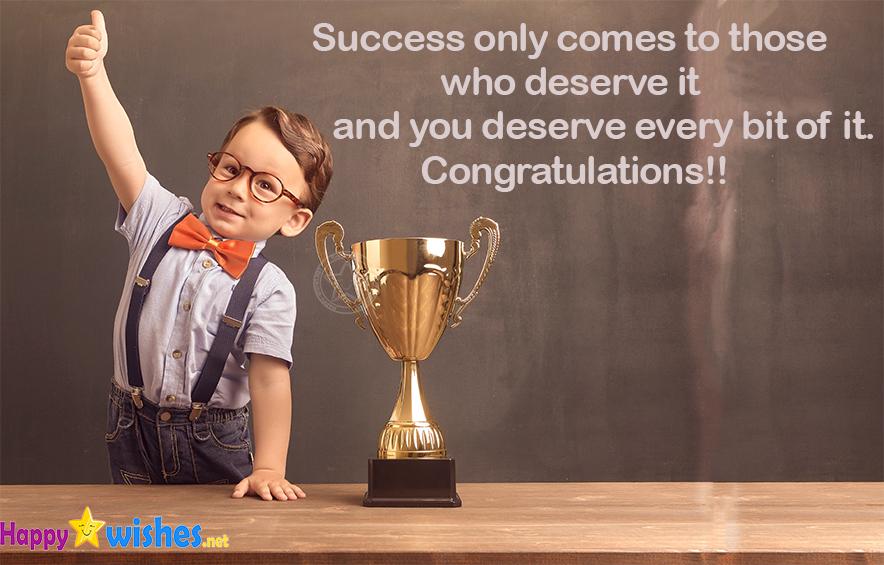 Congratulations on success