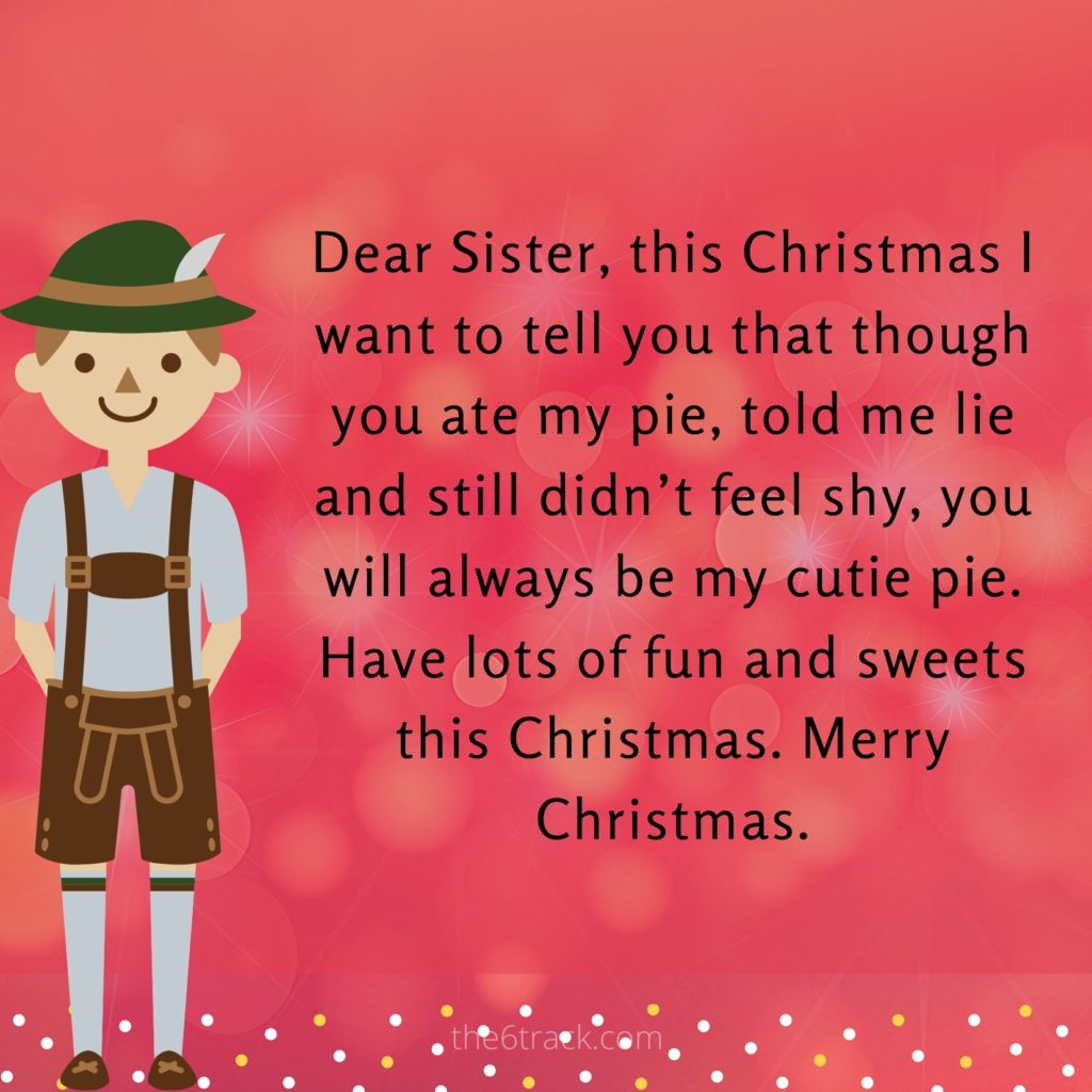 sweet Merry Christmas wishes for sister